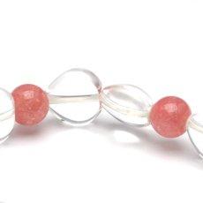 画像4: インカローズ、ハート水晶 - 8.5mm玉、サイズ15、16cm (4)
