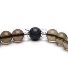 画像4: 天眼石(アイアゲート)、スモーキークォーツ(茶水晶)、カット水晶 - 8mm玉、サイズ16cm (4)