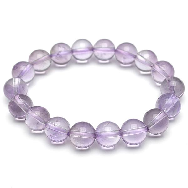 画像1: ラベンダーアメジスト(紫水晶) - 10mm玉、サイズ約15cm (1)